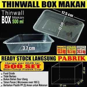Thinwall Food Container Makanan Kotak Makan 1000ml 50pcs thinwall 500 ml food container box tempat kotak makanan plastik murah pabrik sendok garpu
