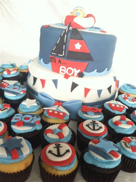 Baby Shower Theme Cupcakes by Sailor Themed Baby Shower Cake And Cupcakes Cakecentral