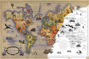 Carte du monde 224 colorier poster g 233 ant adh 233 sif 224 12 90