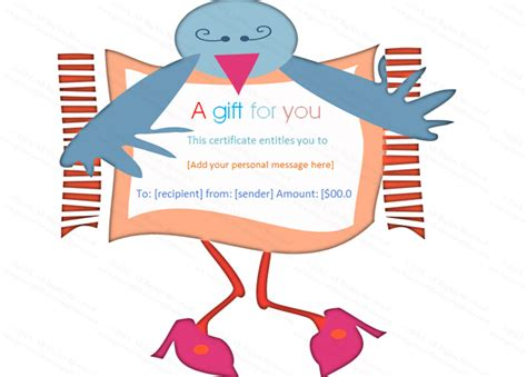 miss blue bird gift certificate template