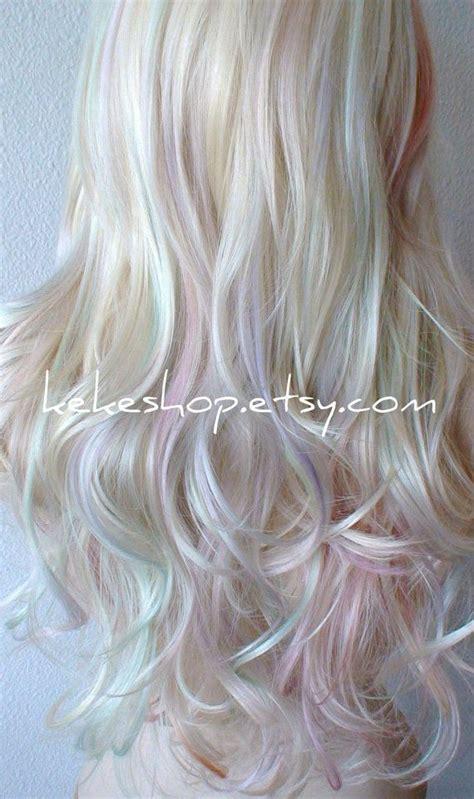 pastel colored wigs pastel wig rainbow wig platinum pastel colored