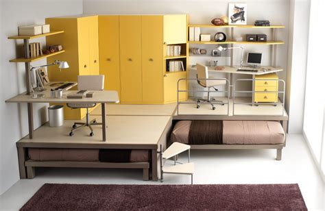Modern Bunk Bed With Desk Modern Doble Bunk Beds Yellow Color With Study Desk