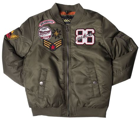 Jkt Bomber Boy boys ma1 bomber jacket zip through badge embroidered baseball coat juice ebay