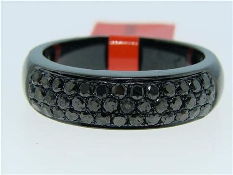 mens black diamonds pave 6 5mm band ring 1 70 ct