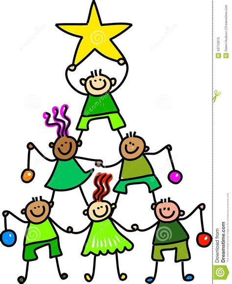 weihnachtsbaum kinder stock abbildung bild 43710913