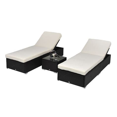 Rattan Chaise Lounge Outdoor by 3 Pcs Outdoor Rattan Wicker Chaise Lounge Sofa Patio