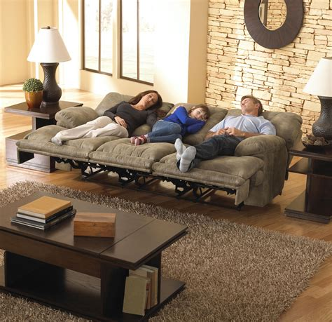 sectional sofas with recliners power 3 seat quot lay flat quot reclining sofa by catnapper wolf