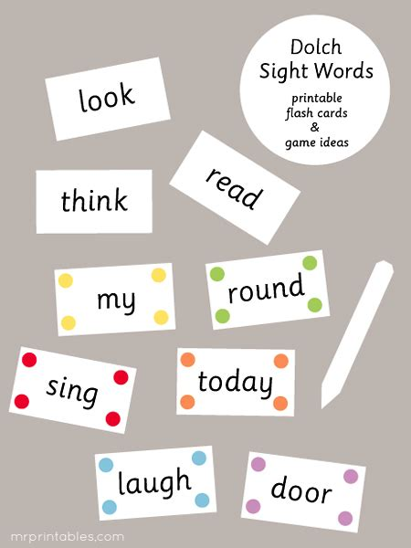 printable flash cards words dolch sight words flash cards mr printables