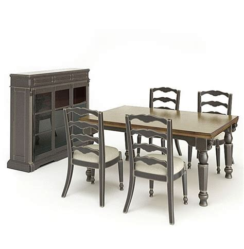 grey wood dining room set 3d model cgtrader