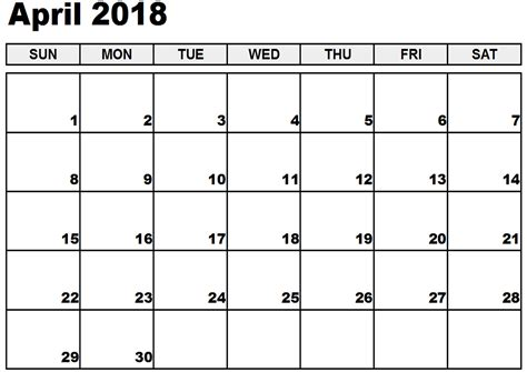 printable calendar 2018 large boxes april 2018 printable calendar printable calendar 2018