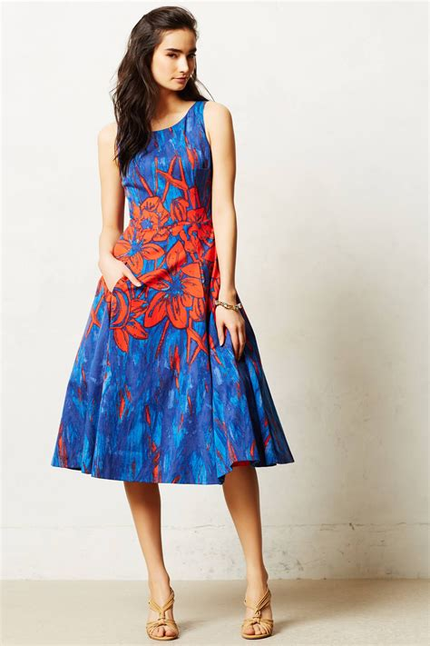 Camelia Dress anthropologie camellia dress in orange blue motif lyst