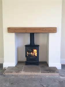 Oak Beam Above Fireplace by Fahrenheit Stoves Ltd Charnwood C Four Reclaimed
