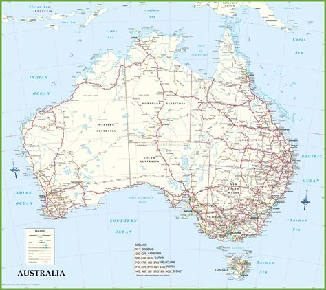 Printable Australian Road Maps | large detailed road map of australia
