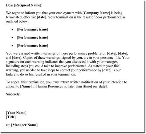sample employee termination letter poor performance