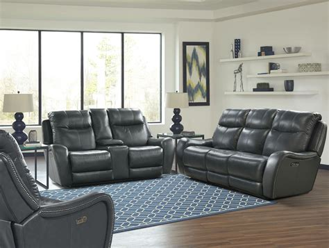 Denim Apartment Sofa Mammoth Denim Dual Power Reclining Sofa From Living