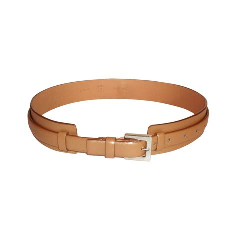 yves laurent beige leather belt modsie