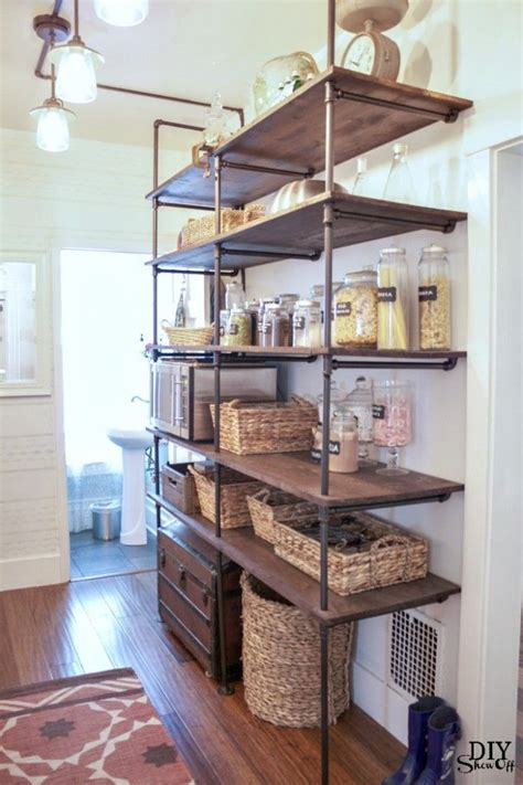 diy open shelving kitchen diy show off open pantry pipe shelving and shelving