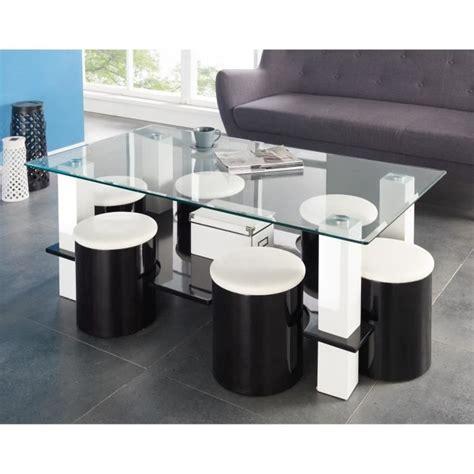 bodega table basse 6 poufs 130 cm noir achat vente