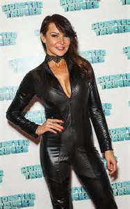 lizzie cundy dons leather catsuit attends monster trucks screening london daily mail