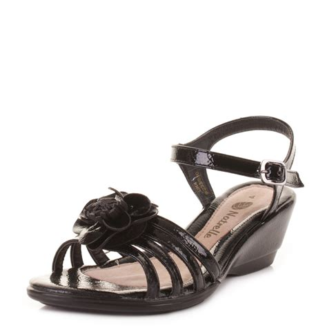 black patent low wedge heel strappy ankle