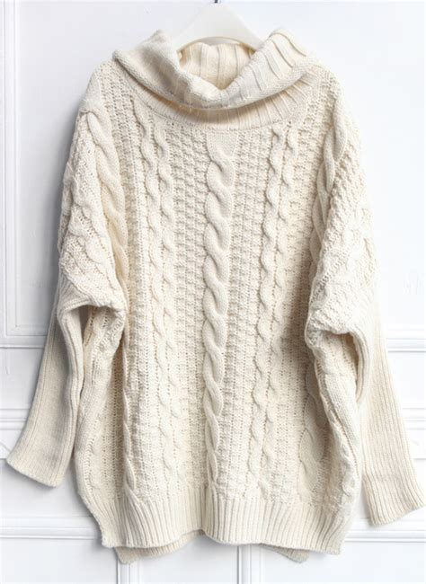 knit sweater beige high neck cable knit sweater shein sheinside