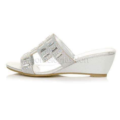 wedge wedding sandals womens mid heel wedge bridal prom wedding diamante mules