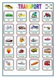 english teaching worksheets transports flashcards