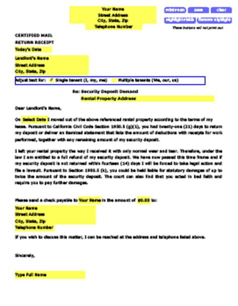 Demand Letter For Security Deposit Photo Sle Letter For Security Deposit Images