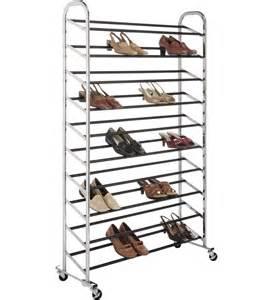 50 Pair Shoe Rack by Portable Shoe Rack 50 Pair Chrome In Shoe Racks