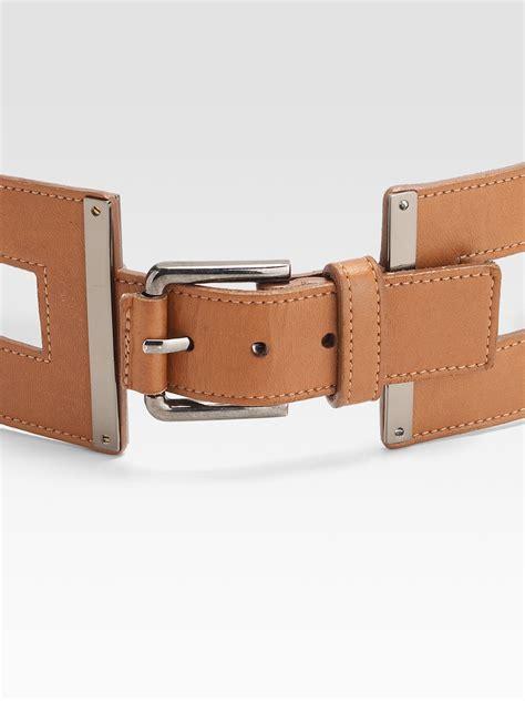 oscar de la renta leather link belt in brown lyst