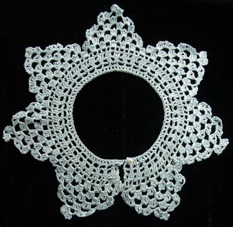 pattern crochet lace collar civil war era sky blue crocheted lace collar from vintage