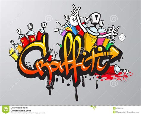 spray paint composition graffiti characters print stock vector illustration of