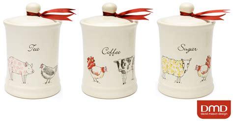 Pottery Canisters Kitchen cream colour farm animals ceramic tea coffee sugar kitchen