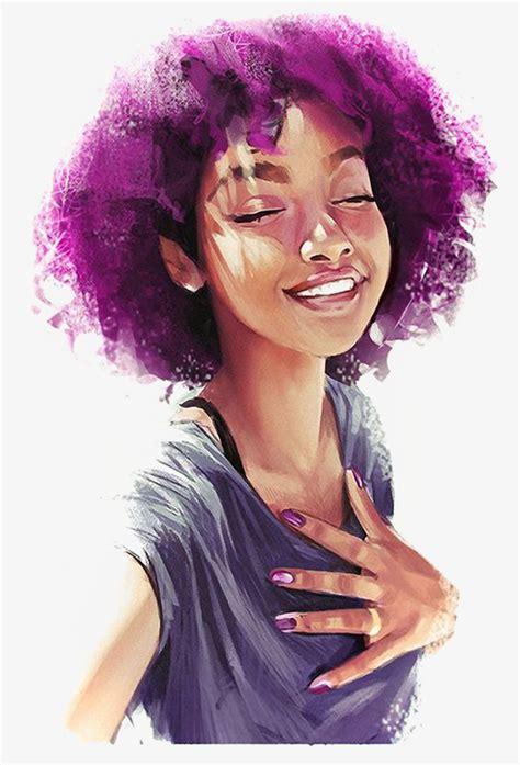 black women with purple hair black girl illustration exploding head purple hair