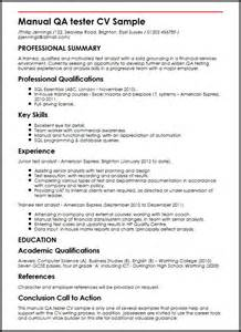Curriculum Vitae Handbook by Manual Qa Tester Cv Sample Myperfectcv