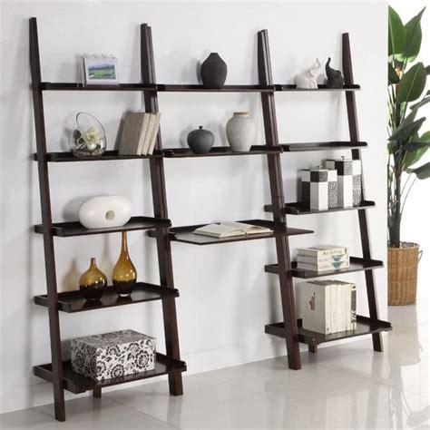 leaning ladder bookshelf with laptop desk cappuccino 3 leaning ladder shelf with laptop desk