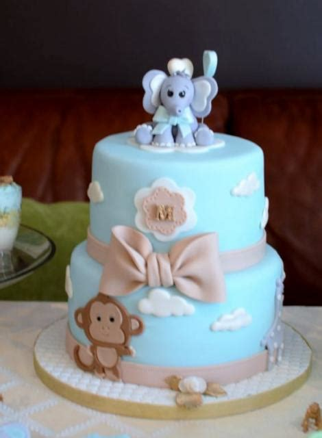 Baby Shower Cake With Baby On Top by Light Blue Baby Shower Cake In 2 Tiers With Baby