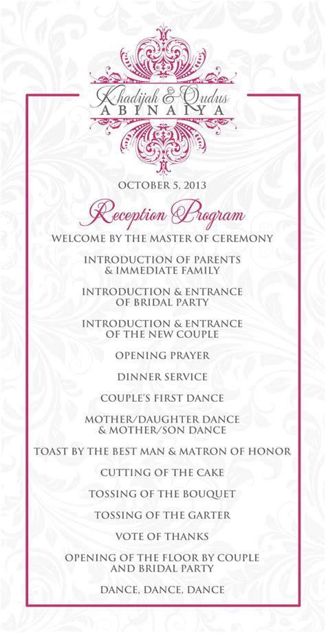Reception Wedding Program by Wedding Reception Program Www Imgkid The Image Kid