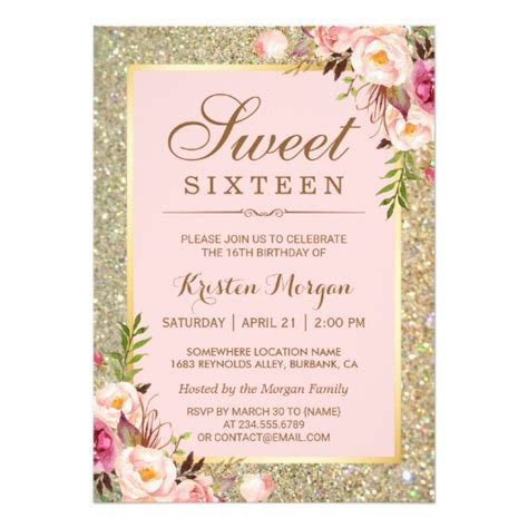sweet 16 birthday pink floral gold glitters card