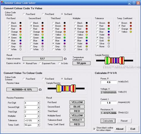 resistor color code calculator software free resistor colour code solver 1 3 1 freewarelinker