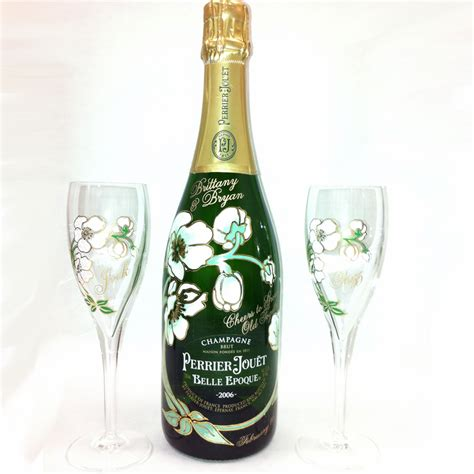 Perrier Jouet Chagne Flower Bottle Gift Set With Two Gles