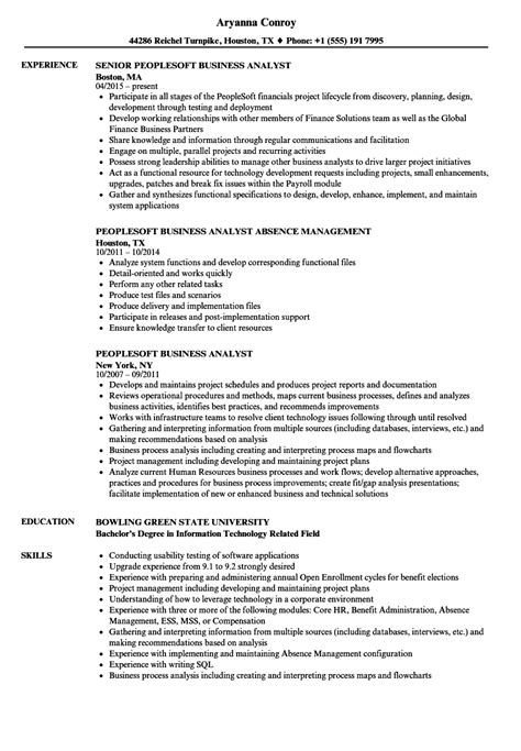 Peoplesoft Business Analyst Sle Resume by Peoplesoft Business Analyst Resume Sles Velvet