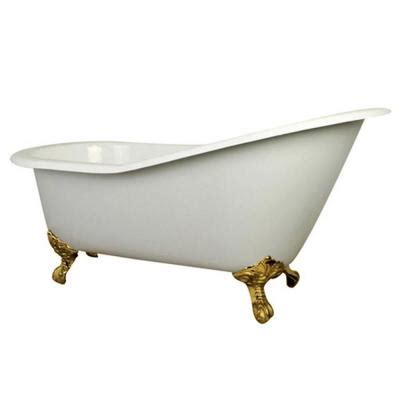7 Ft Bathtub by Aqua 5 Ft Cast Iron Polished Brass Claw Foot Slipper Tub With 7 In Deck Holes In White
