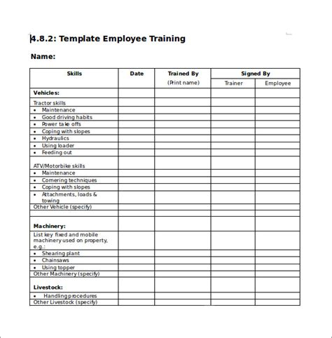 training checklist sle 12 documents in pdf word