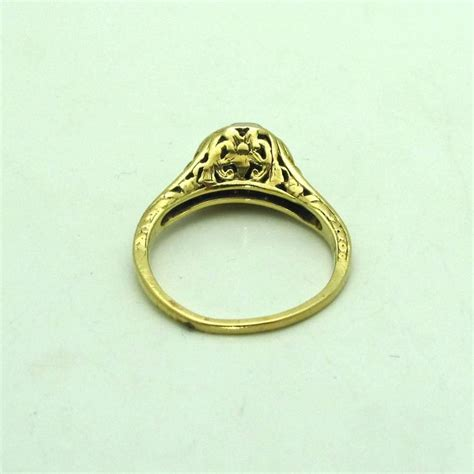 engraved gold engagement ring for sale at 1stdibs
