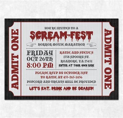printable movie invitation templates printable halloween invitation horror movie marathon
