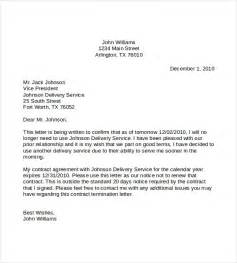 Cancellation Letter Of Contract Sle Termination Letters 8 Termination Of Services