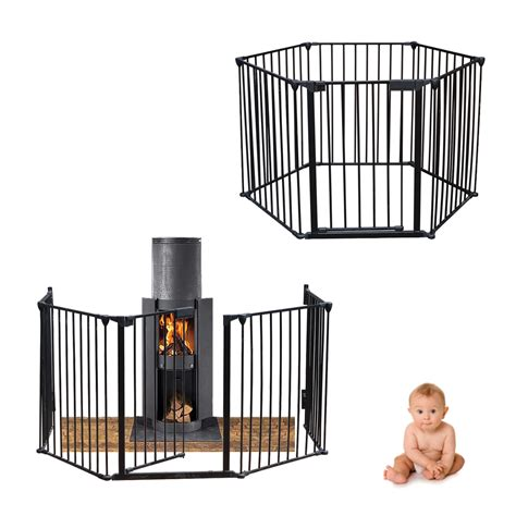 baby room divider black metal baby child hearth gate place room divider safety guard play pen ebay
