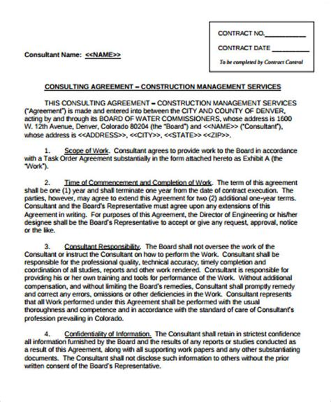 sle management consulting agreement 6 exles in
