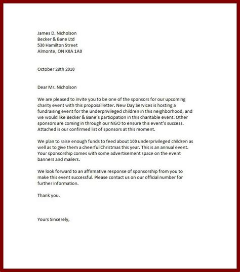 charity event letter for sponsorship sle letter for sponsorship charity event best